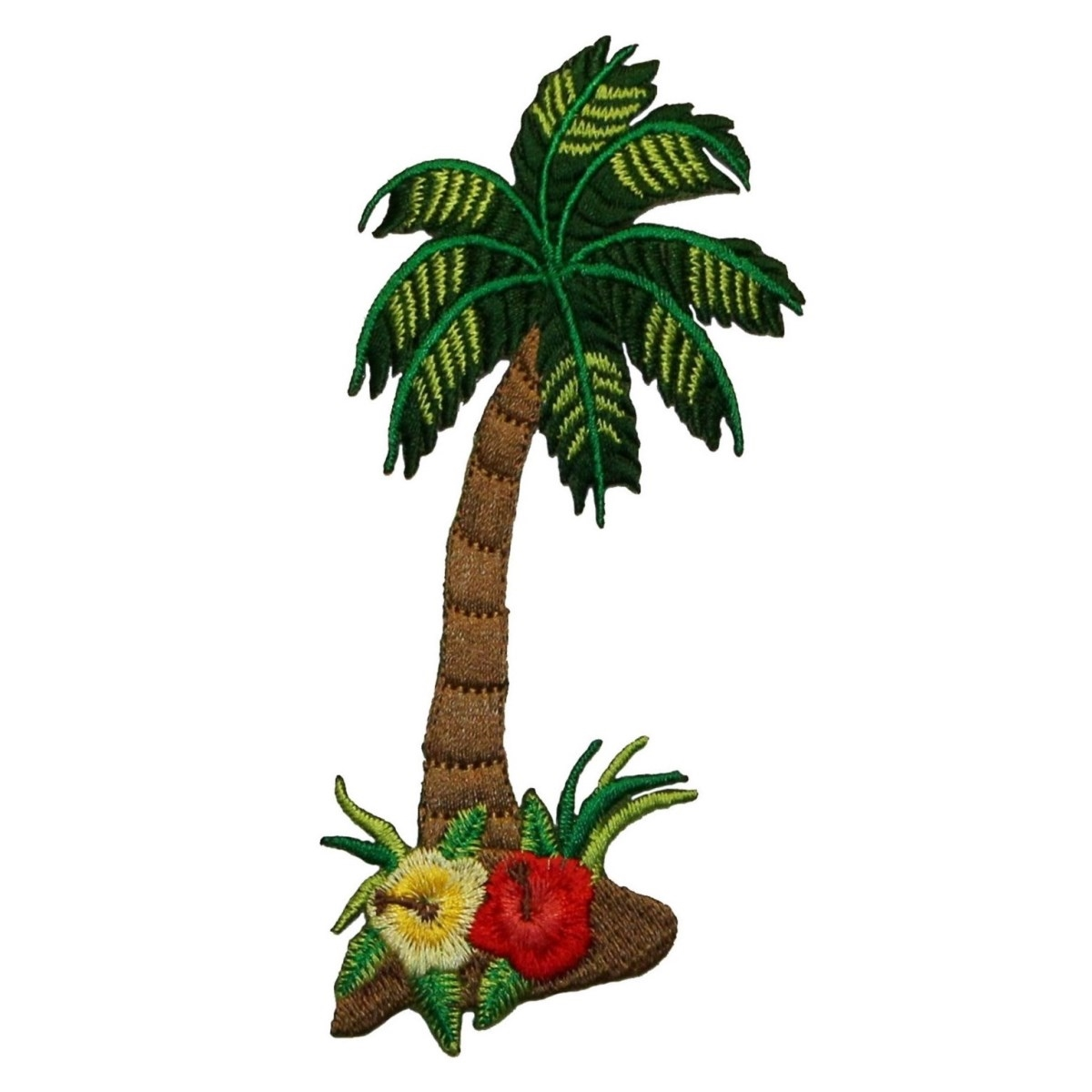 ID 0031 Tropical Palm Tree Flowers Blooming Embroidered Iron On Applique Patch