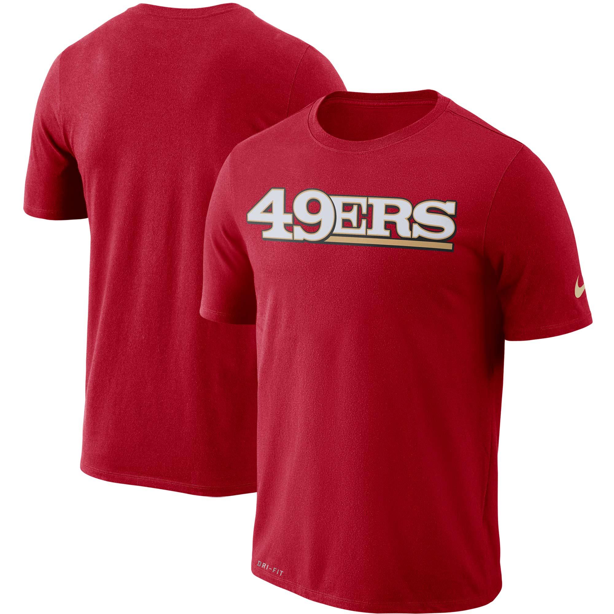 San Francisco 49ers Nike Dri-FIT Cotton Essential Wordmark T-Shirt - Scarlet