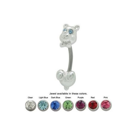 Bear Cubic Stone (Teddy Bear Belly Ring with CZ Gems )