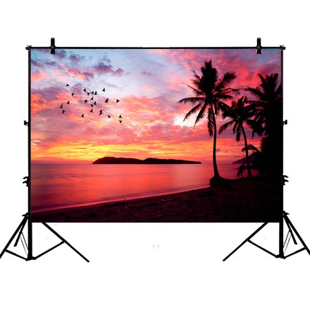 YKCG 7x5ft Sunset Birds at Rebak Island Palm Tree Photography Backdrops Polyester Photography Props Studio Photo Booth Props - Palm Tree Backdrop