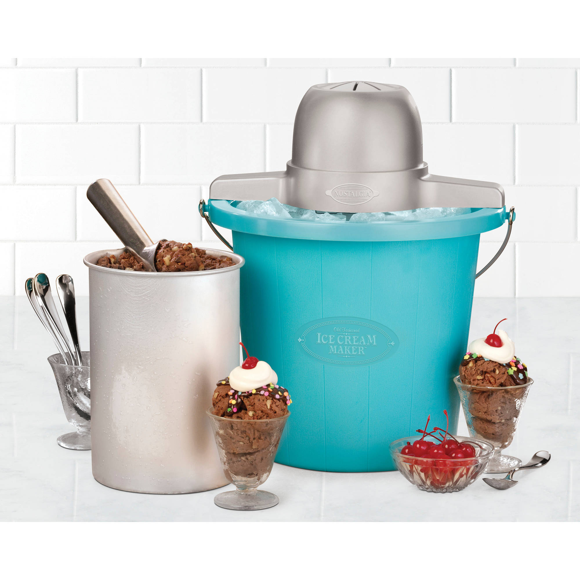 Nostalgia Electrics 4-Quart Blue Bucket Electric Ice Cream Maker, ICMP400BLUE