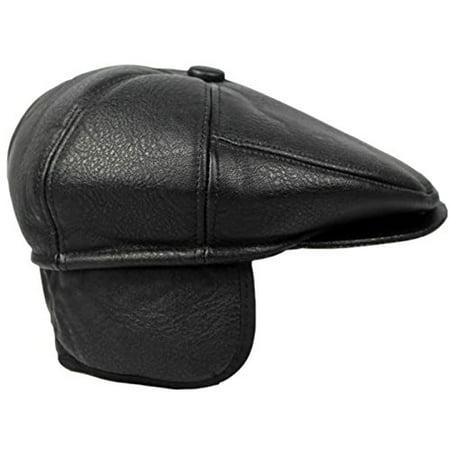 Flat Cabbie Men's Classic Newsboy Flat Cap Hat with Ear Flaps (XL, BLACK) - Black Cabbie Hat