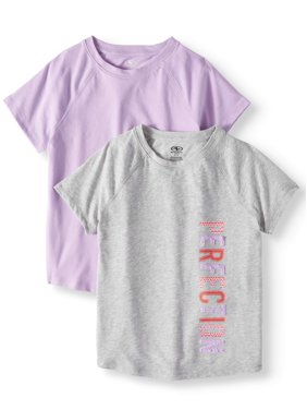 Athletic Works Solid & Graphic Active T-Shirts, 2-Pack, (Little Girls & Big Girls)