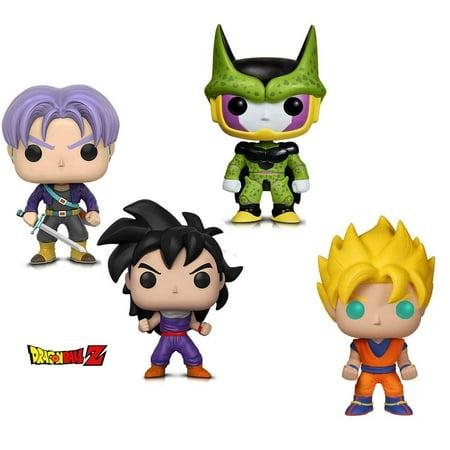 Warp Gadgets Bundle - Funko Pop Animation Dragonball Z - Perfect Cell, Super Saiyan Goku, Gohan (Training Outfit) & Trunks (4 Items)