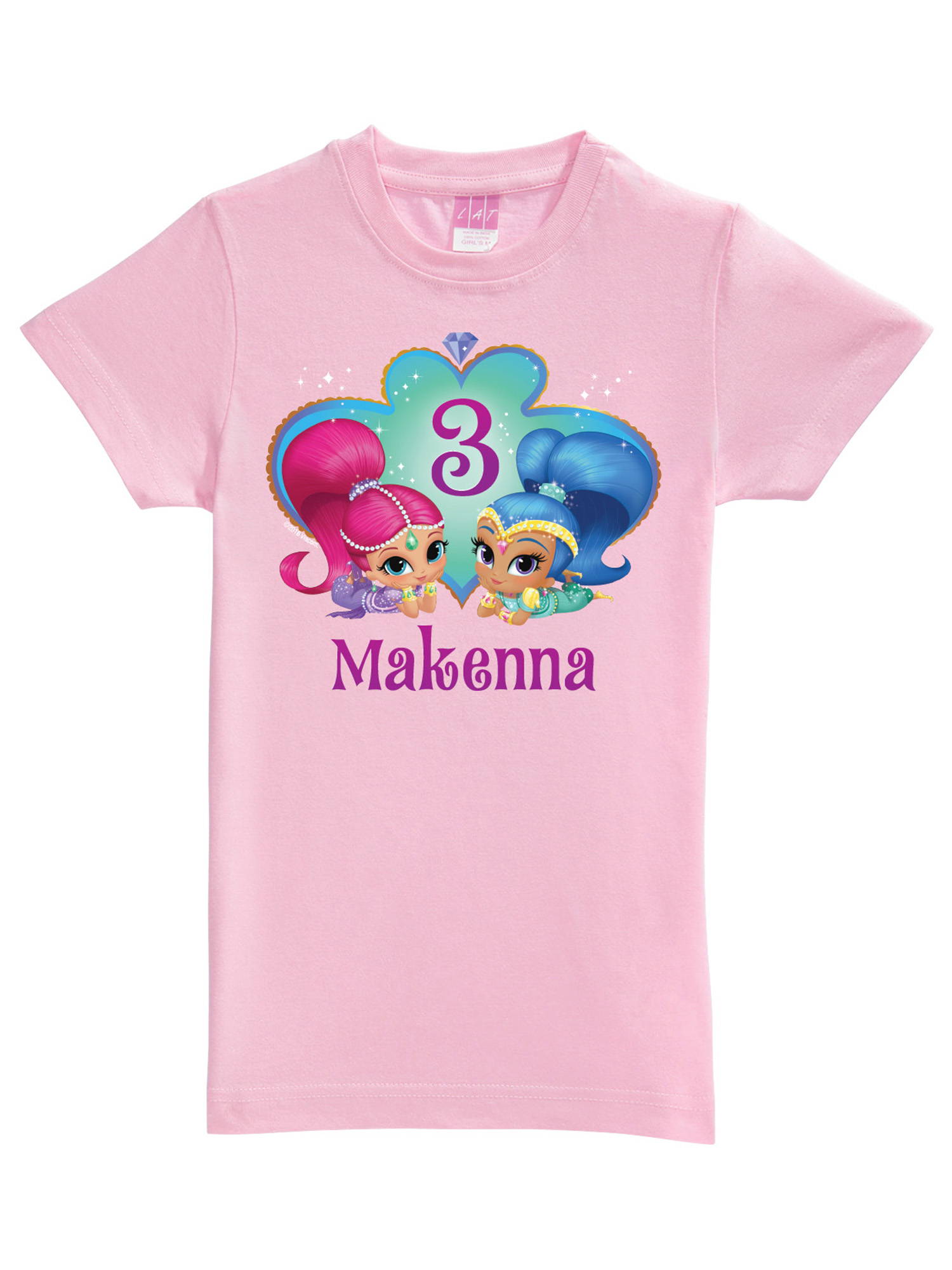 Personalized Shimmer and Shine Birthday Wish Pink Fitted Tee, Toddler, Pink
