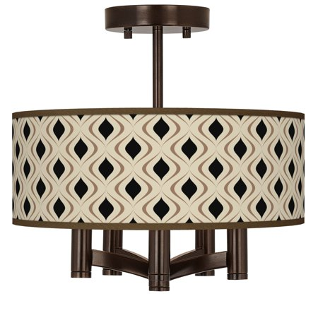 Giclee Glow Gray Retro Lattice Ava 5-Light Bronze Ceiling