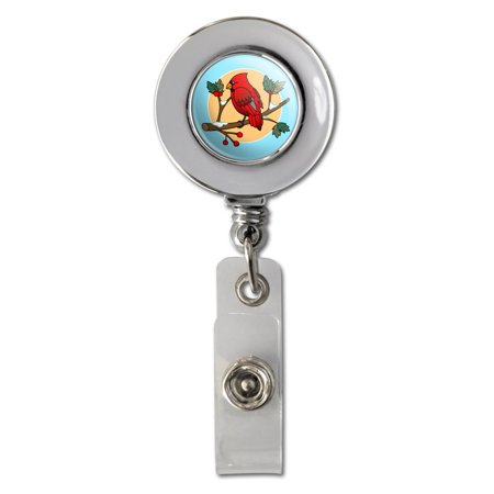 Red Cardinal on Snowy Holly Branch Retractable Reel Chrome Badge ID Card Holder Clip