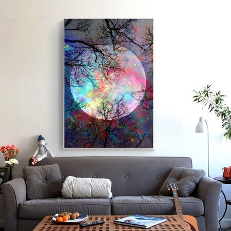 New Stylish DIY 5D Diamond Embroidery Painting Forest Seasons Tree Color Moon Printed Cross Arts Craft Stitch Home Wall Decoration Poster Pictures Diamond Poster Sticker