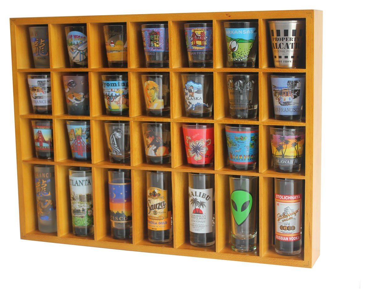 28 Shot Glass Shooter Display Case Holder Cabinet Rack, Solid Wood, NO Door,