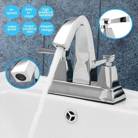 Deck Mount Basin Set - TAPCET Bathroom Basin Sink Faucets Faucet Chrome Dual Handle Deck Mount Brass Mixer Tap