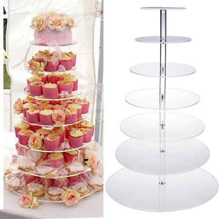 Hifashion 7 Tier Acrylic Glass Round Cupcake Stand - Tiered Cake Stand - Clear Stacked Party Cupcake Tree - Dessert Display Holders - Cupcake Tower For Wedding, Happy