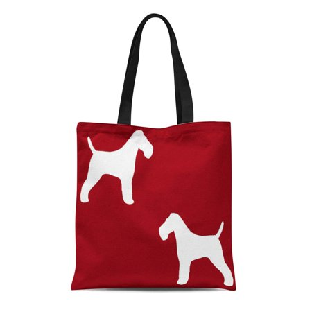 SIDONKU Canvas Tote Bag Coated Wire Fox Terrier Silhouettes Red Dog Pets Reusable Handbag Shoulder Grocery Shopping Bags