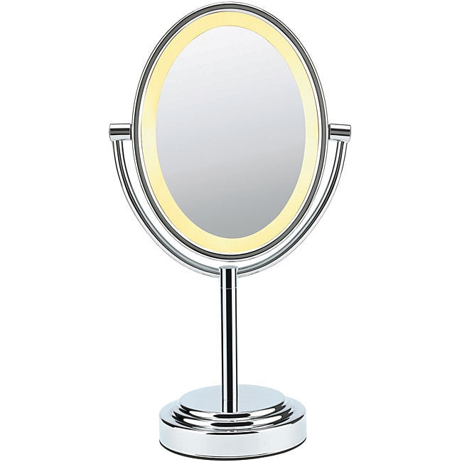 Polished Chrome 1x/7x Magnification Double-Sided Lighted Oval Mirror