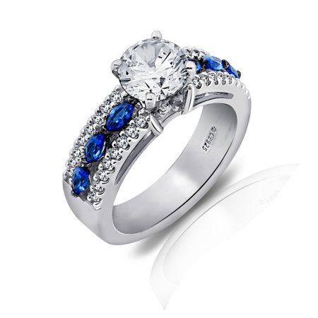 Gemour Platinum Plated Sterling Silver Swarovski Zirconia Round-Cut and Marquise Created Sapphire Ring Size 6
