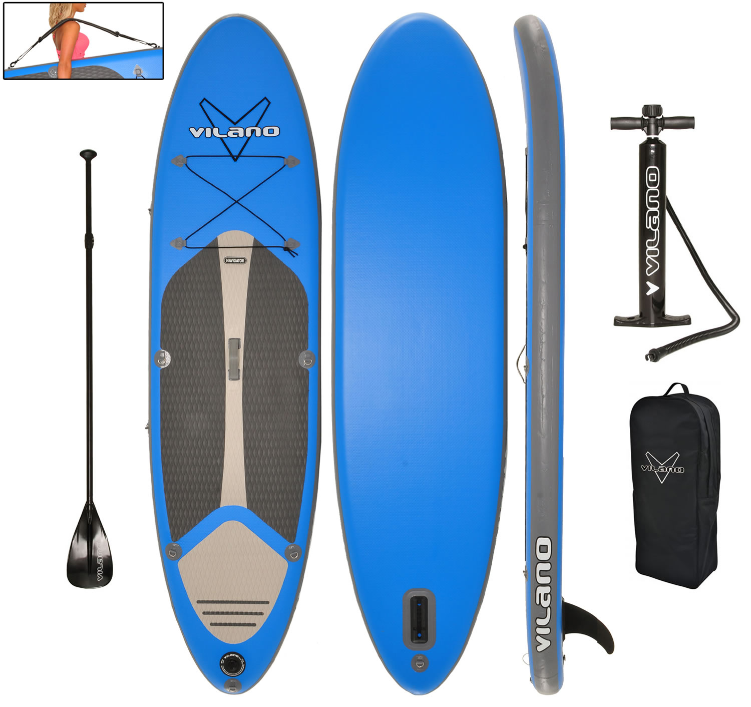 "Vilano Navigator 10' (6"" Thick) Inflatable SUP Stand Up Paddle Board Package by Vilano"