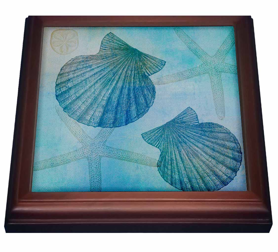 3dRose Aqua Shells and Starfish Beach Themed Art, Trivet with Ceramic Tile, 8 by 8-inch