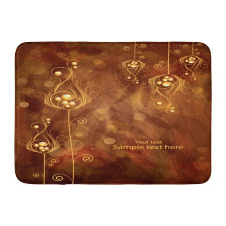 - GODPOK Red Best Brown Celebrate Abstract Floral Orange Flower Gold Rug Doormat Bath Mat 23.6x15.7 inch