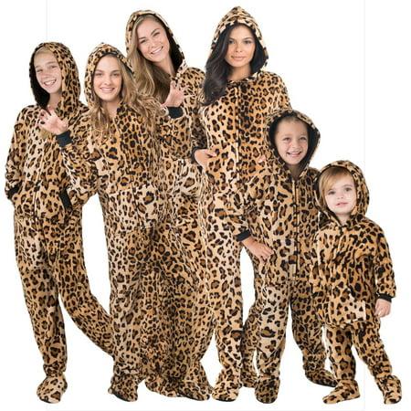 Footed Pajamas - Family Matching Cheetah Print Hoodie Onesies for Boys, Girls, Men, Women and Pets Brown Boys Pajamas