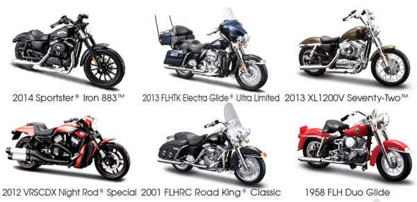 Harley Davidson Motorcycle 6pc Set Series 33 1 18 Diecast Models by Maisto by Maisto