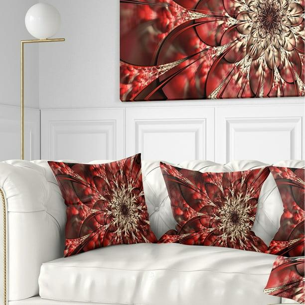 Design Art Designart Red Symmetrical Flowers Pattern Floral Throw Pillow Walmart Com Walmart Com