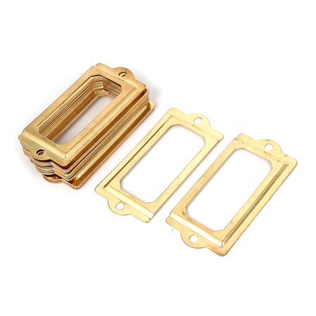 Unique Bargains Office Library 70x33mm File Drawer Tag Frame Label Holder Gold Tone 20pcs ()