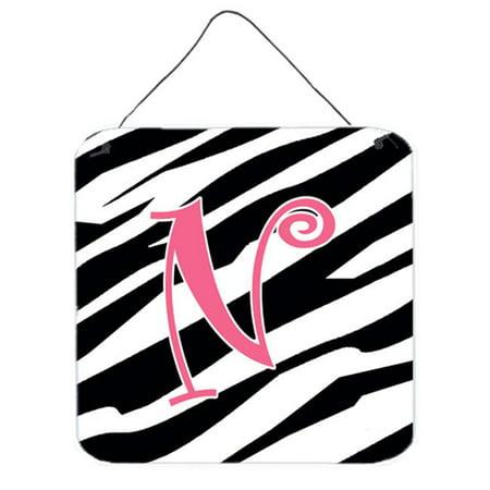 - Letter N Initial Zebra Stripe And Pink Aluminium Metal Wall Or Door Hanging Prints