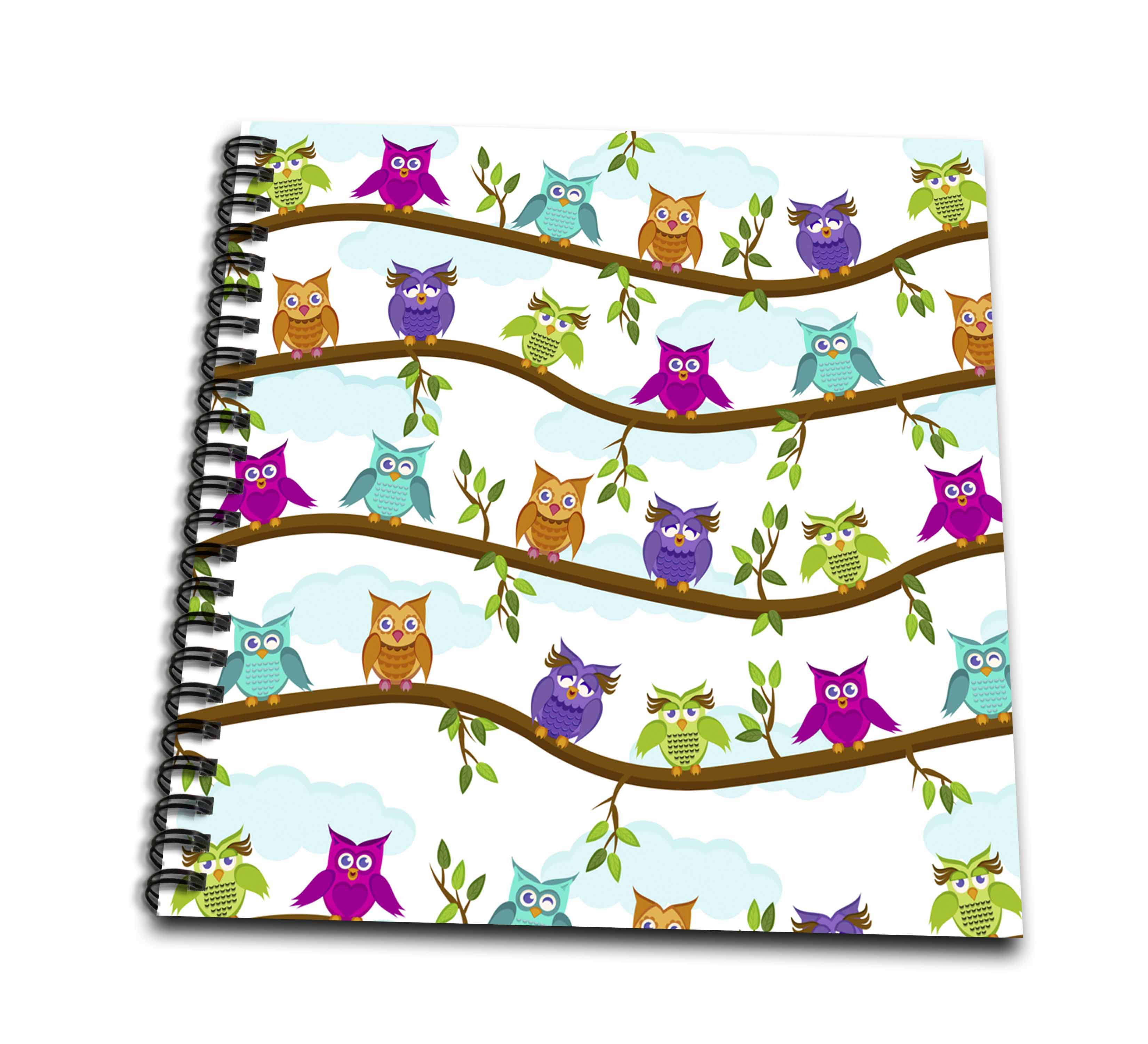 3dRose Funny Owls - Drawing Book, 8 by 8-inch