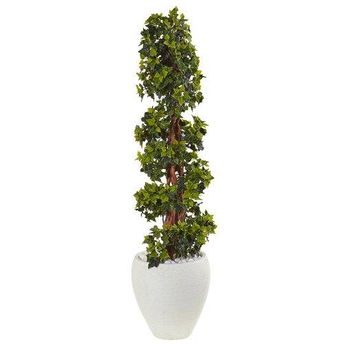 Fleur De Lis Living Artificial English UV Resistant Floor Ivy Topiary in Planter