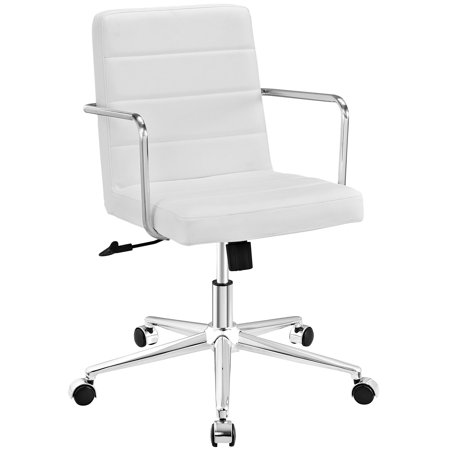 Modern Contemporary Urban Design Work Home Office Mid Back Office Chair  White  Faux Leather