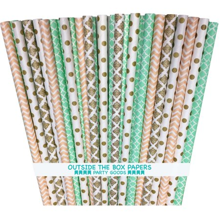 Gold, Mint and Peach Damask, Chevron and Dot Paper Straws 100 - Peach And Mint Wedding