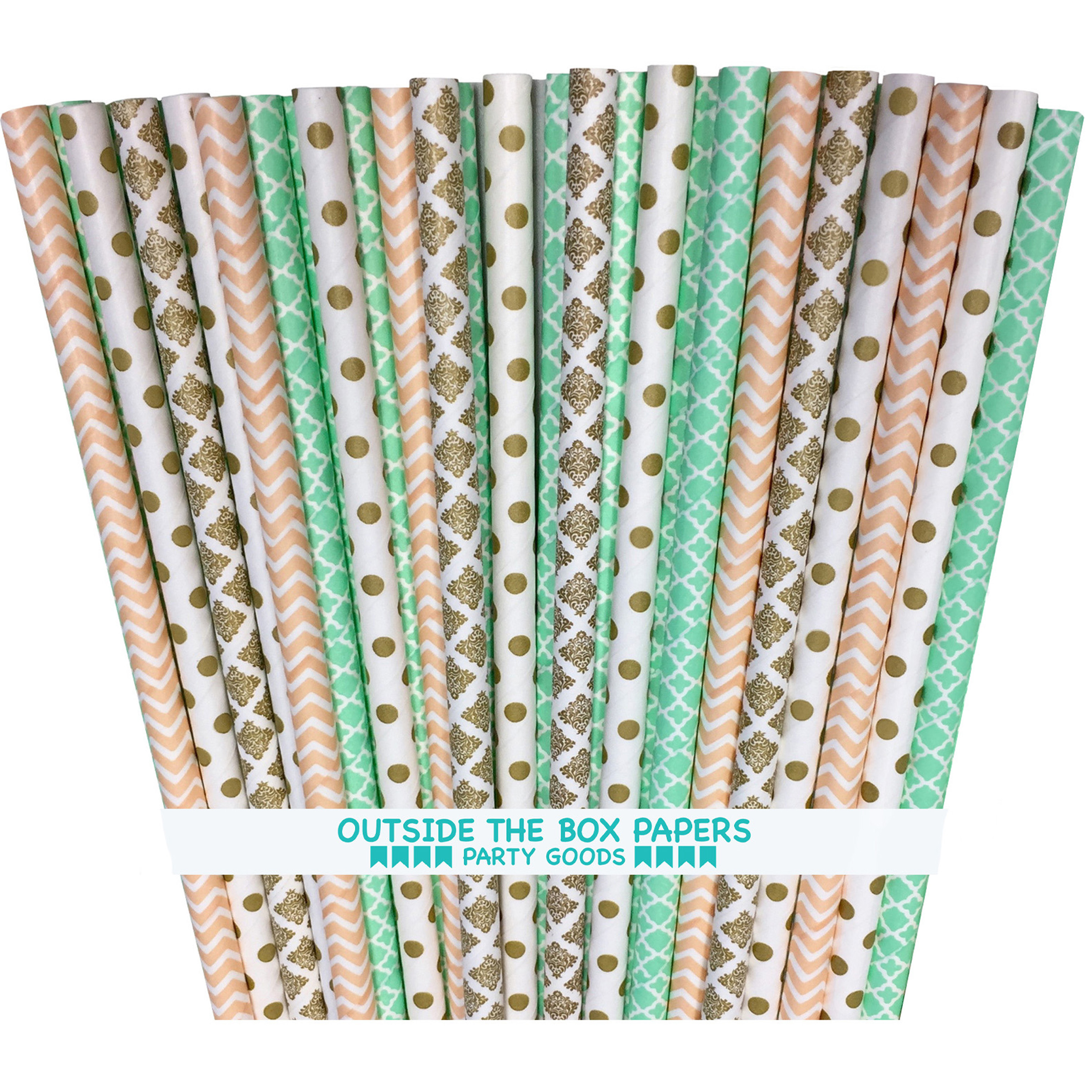 Gold, Mint and Peach Damask, Chevron and Dot Paper Straws 100