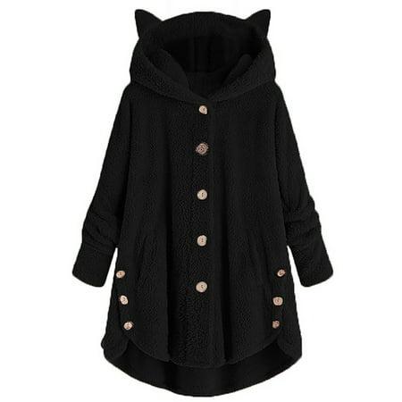 Women's Casual Faux Fur Hooded Coats Fleece Jackets Plus Size