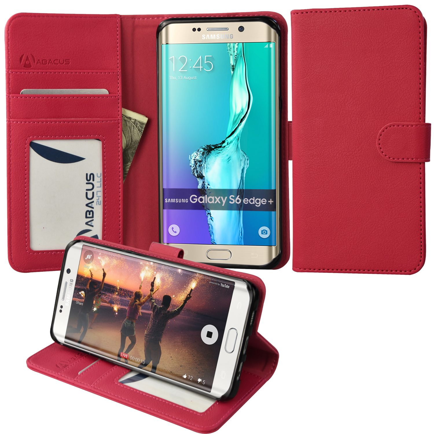 Wallet Case for Samsung Galaxy S6 Edge Plus, Pink
