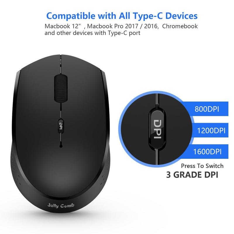 Type C Wireless Mouse, Jelly Comb 2.4GHz Rechargeable USB C Wireless