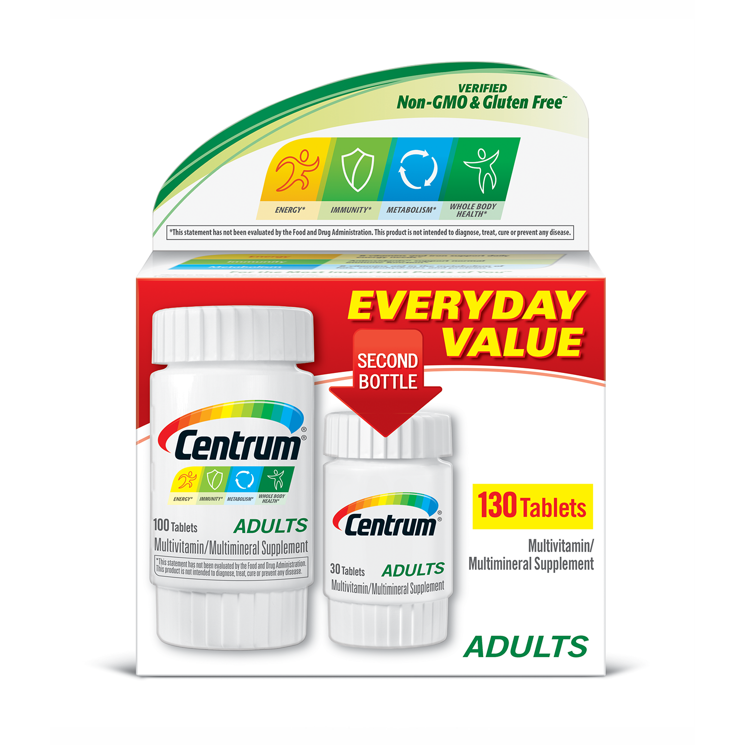 Centrum Adult (130 Count) Complete Multivitamin / Multimineral Supplement Tablet, Vitamin D3, B Vitamins, Iron, Antioxidants