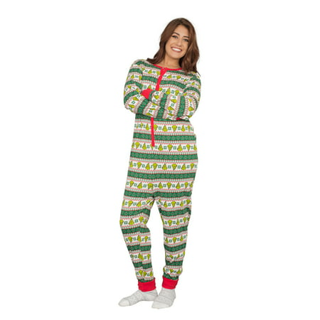 Grinch Family Faces Christmas Green and White Adult Pajama Union Suit ()