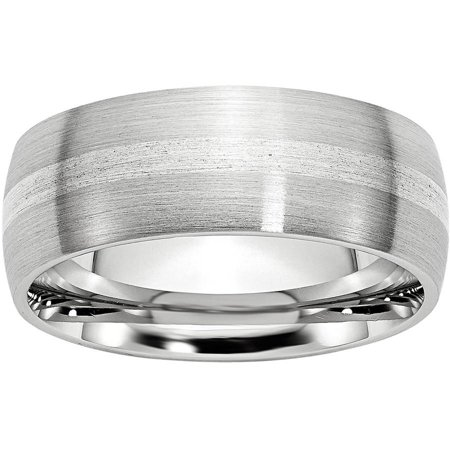 Cobalt Sterling Silver Inlay Satin 8mm Band