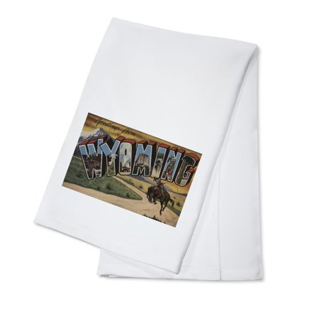 Greetings from Wyoming (Cowboy) (100% Cotton Kitchen (Cowboy Towel)