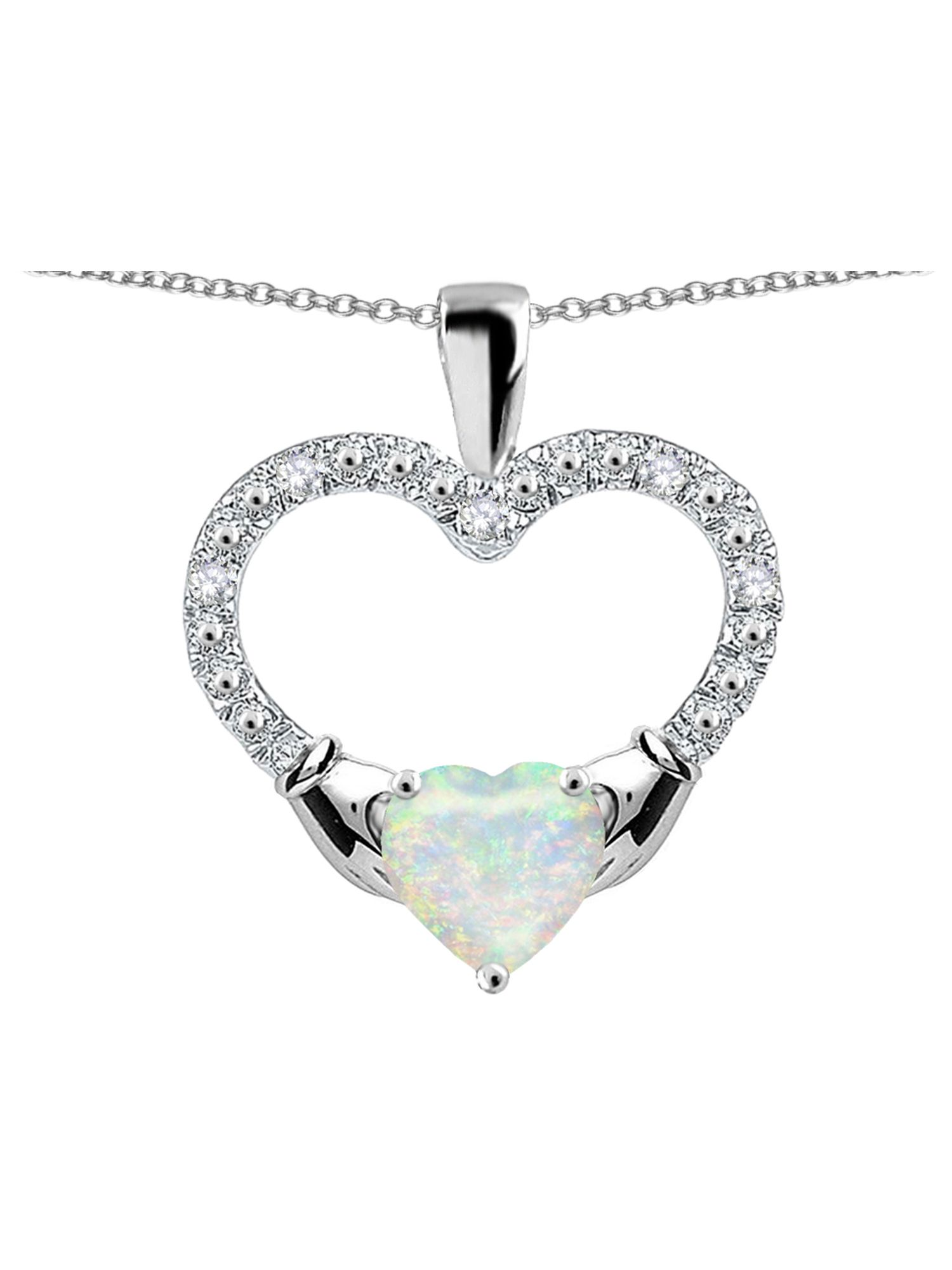 Star K Hands Holding Heart Genuine Opal Claddagh Pendant Necklace