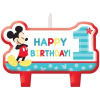 Disney Mickey's Fun to Be One 1st Birthday Party Candle Set, 4ct