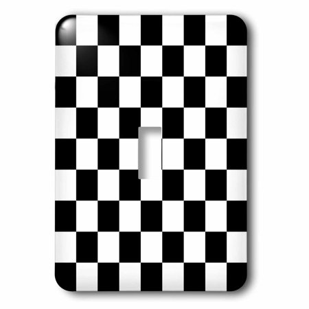 3dRose Check black and white pattern - checkered checked squares chess checkerboard or racing car race flag - Single Toggle Switch (lsp_154527_1)