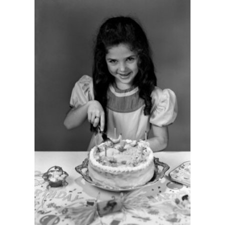 Portrait Of Girl Cutting Birthday Cake Canvas Art