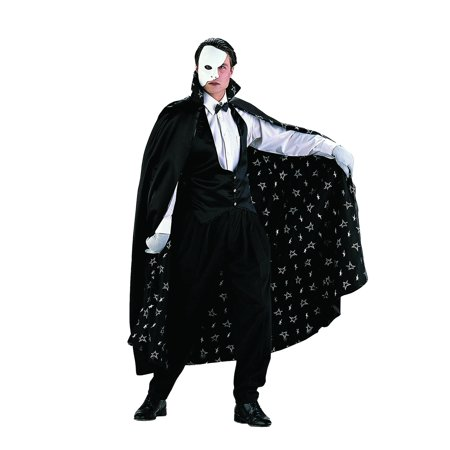The Phantom Adult Costume Of The Opera Black Cape Satin Vest Mask Erik Mens - Black Cape Hood
