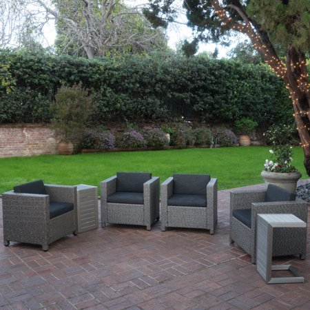 Eden Outdoor 4-Piece Wicker Club Chairs w/ Cushions and 2 Aluminum C-Shaped Tables, Dark Grey/ Mixed Black/ Silver