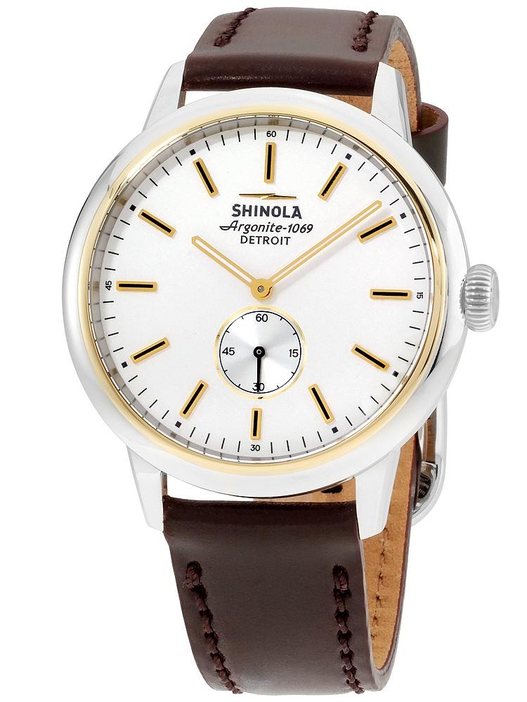 Shinola The Bedrock White Dial Leather Strap Men's Watch 20058978
