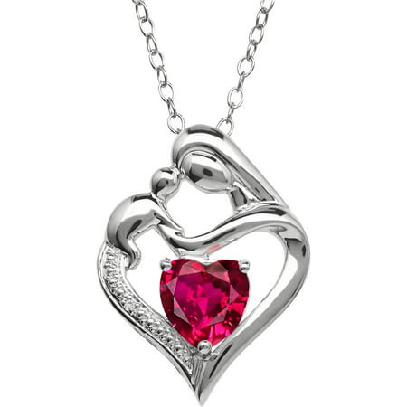 Mother and Child Created Ruby and Diamond Accent Pendant in Sterling Silver, 18