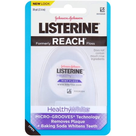 Listerine Healthy White Floss, Mint 30 yd (Pack of 4)