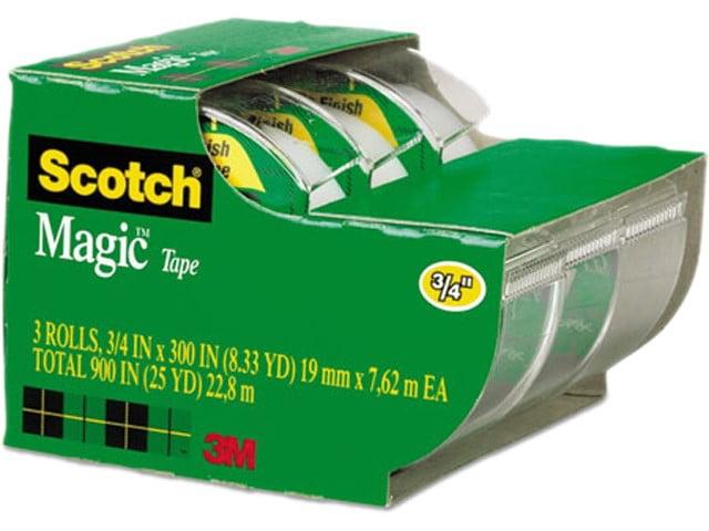 "Scotch Magic Tape, Refillable Dispenser, 3/4"" X 300"", 3/pack"
