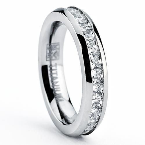 Titanium Princess-cut Cubic Zirconia Eternity Ring Size 7