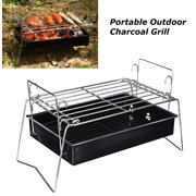 Charcoal Grill Camp Grill Mini Grill Folding Campfire Grill Portable Grill Lightweight Steel Mesh Barbecue Grill Camping Grill for Outdoor Camping Cooking Hiking Backpacking Party